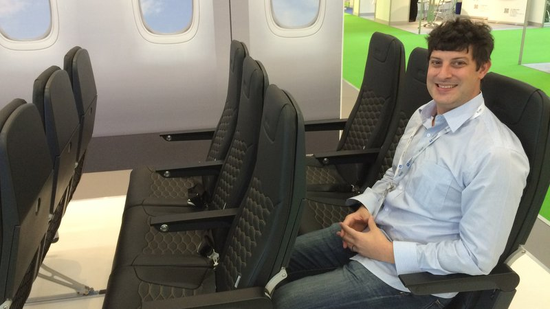 Trying out the Mirus Hawk seats at AIX2016. Looking forward to flying them on Air Asia soon