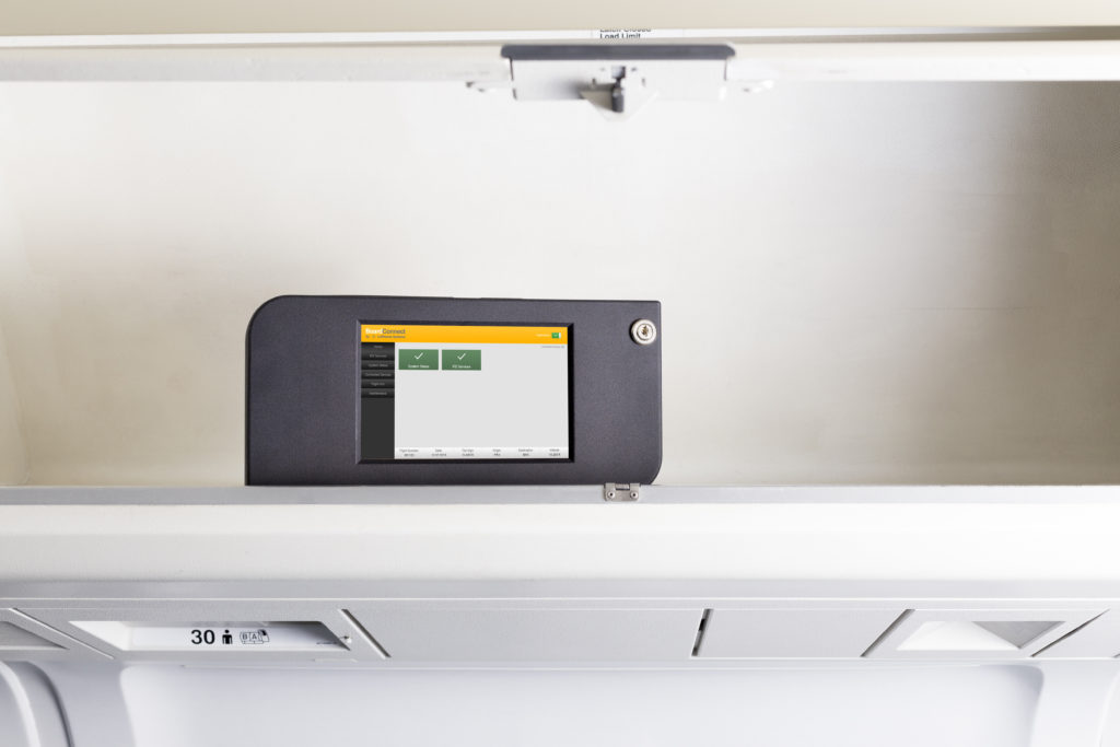 The BoardConnect Portable box sits in the overhead bin. Image: Lufthansa Systems