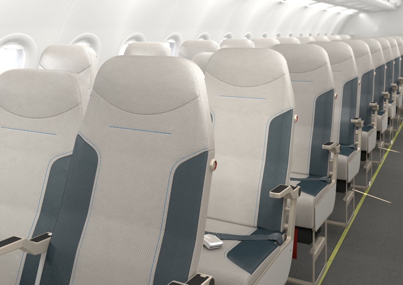 Once passengers arrive they slide the seat out to the full width. Image: Side Slip Seat