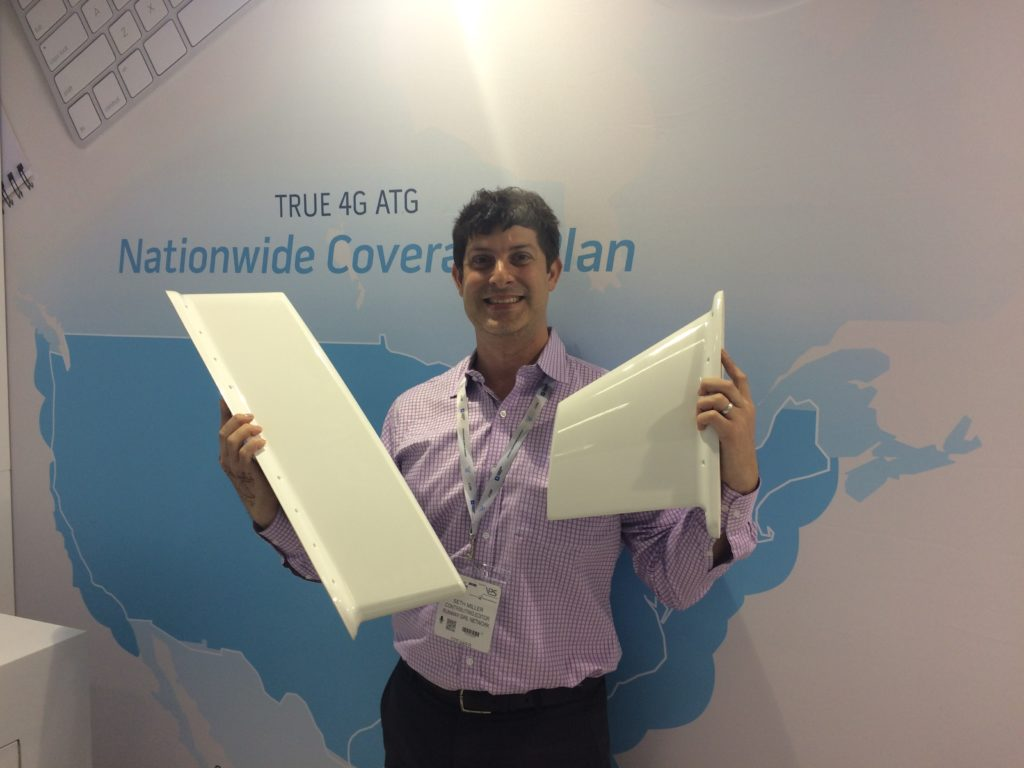 RGN Contributing Editor Seth Miller with the SmartSky antennae on display at AIX 2017
